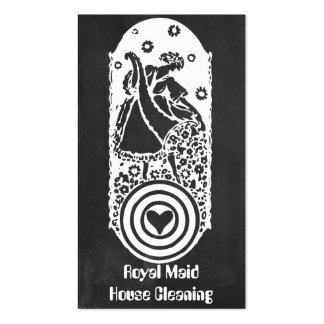 Retro Happy Lady Maid Chalkboard Cleaning Services Double-Sided Standard Business Cards (Pack Of 100)