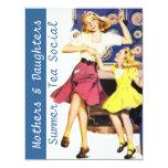 "Retro Happy Mothers & Daughters Social Invitations 4.25"" X 5.5"" Invitation Card"