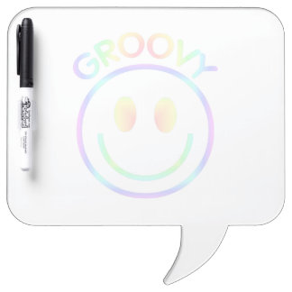 Retro Happy Smiley Face Pastel Rainbow Groovy 70s Dry-Erase Board
