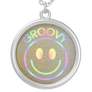 Retro Happy Smiley Face Pastel Rainbow Groovy 70s Round Pendant Necklace