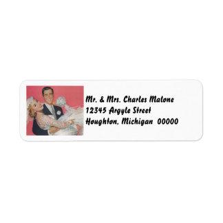 Retro Happy Wedding Couple Return Address Labels