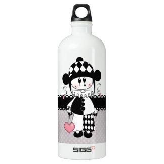 Retro Harlequin Clown Aluminum Water Bottle