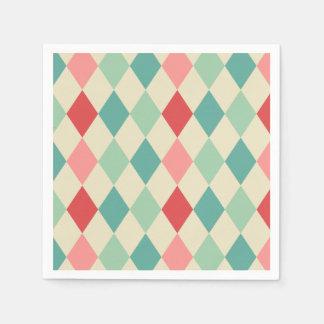 Retro Harlequin Geometric Pattern Paper Napkin