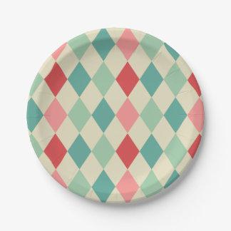 Retro Harlequin Geometric Pattern Paper Plate
