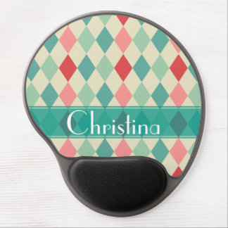 Retro Harlequin Geometric Pattern Personalized Gel Mouse Pad