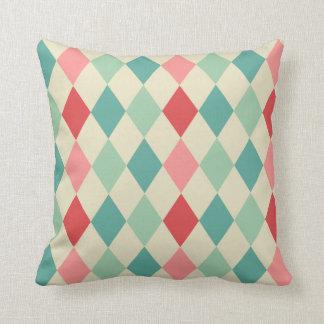Retro Harlequin Geometric Pattern Throw Pillows