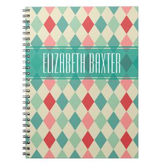 Retro Harlequin Geometric Personalized Notebook