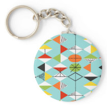 Retro Harlequin Pattern Button Keychain
