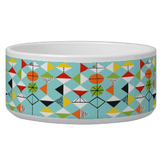Retro Harlequin Pattern Dog Bowl