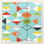 """Retro Harlequin Pattern Glass Coaster<br><div class=""""desc"""">This Retro Harlequin Pattern Glass Coaster is mid century modern style at its finest. The vintage inspired design features an aqua background with rows of triangular shapes forming a harlequin pattern. The two-toned diamond shapes are yellow, white, red, orange, black, green, and white with black accents. But wait, there's more!...</div>"""