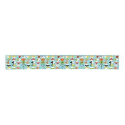 Retro Harlequin Pattern Grosgrain Ribbon