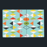 """Retro Harlequin Pattern Laminated Placemat<br><div class=""""desc"""">This Retro Harlequin Pattern Customizable Laminated Placemat is mid century modern style at its finest. The vintage inspired design features an aqua background with rows of triangular shapes forming a harlequin pattern. The two-toned diamond shapes are yellow, white, red, orange, black, green, and white with black accents. But wait, there's...</div>"""