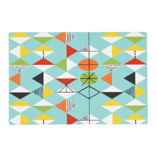 Retro Harlequin Pattern Laminated Placemat