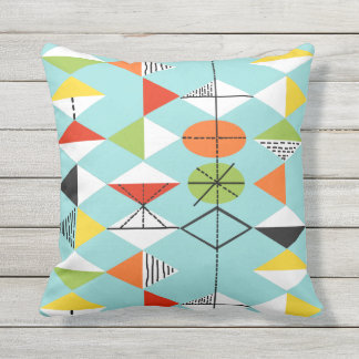 Retro Harlequin Pattern Outdoor Pillow