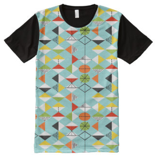 Retro Harlequin Pattern Panel T-Shirt All-Over Print T-shirt