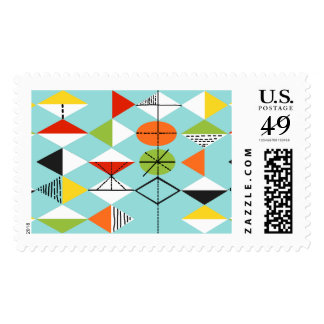 Retro Harlequin Pattern Postage Stamps