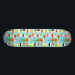 """Retro Harlequin Pattern Skateboard<br><div class=""""desc"""">This Retro Harlequin Pattern Skateboard is mid century modern style at its finest. The vintage inspired design features an aqua background with rows of triangular shapes forming a harlequin pattern. The two-toned diamond shapes are yellow, white, red, orange, black, green, and white with black accents. But wait, there's more! There...</div>"""