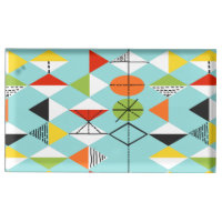 Retro Harlequin Pattern Table Card Holder