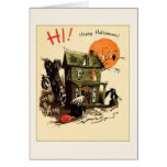 Retro Haunted House Halloween Greeting Card