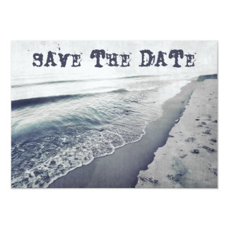 Retro Hauntingly Beautiful Beach Save the Date Card