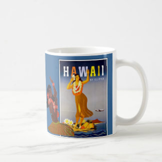 Retro Hawaii Hula Girl Art Coffee Mug