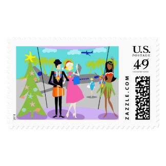 Retro Hawaiian Christmas Postage Stamps