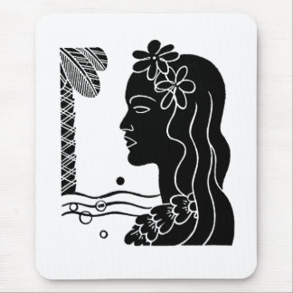 Retro Hawaiian Hula Girl Mouse Pad