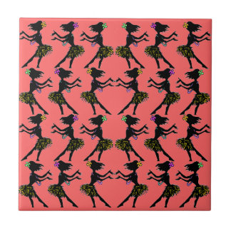 Retro Hawaiian Polynesian Hula Dancer Coral Tile