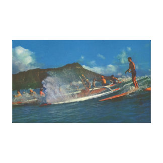 Retro Hawaiian Surfers Canvas Print