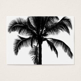 Retro Hawaiian Tropical Palm Tree Silhouette Black Business Card