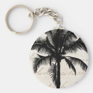 Retro Hawaiian Tropical Palm Tree Silhouette Black Keychain