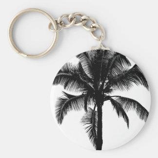 Retro Hawaiian Tropical Palm Tree Silhouette Black Key Chains