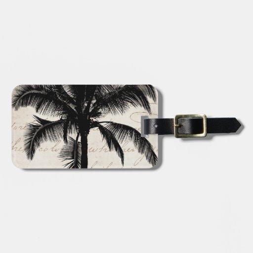 Retro Hawaiian Tropical Palm Tree Silhouette Black Bag Tag