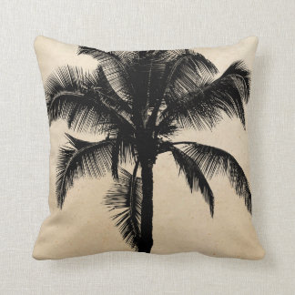 Retro Hawaiian Tropical Palm Tree Silhouette Black Pillow