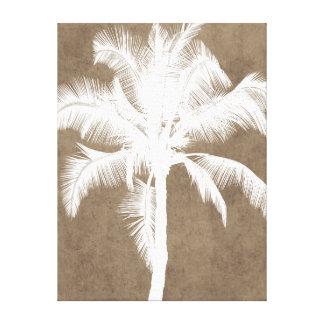 Retro Hawaiian Tropical Palm Tree Silhouette White Canvas Print