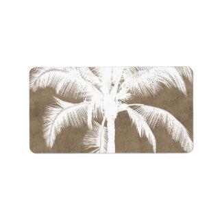 Retro Hawaiian Tropical Palm Tree Silhouette White Address Label