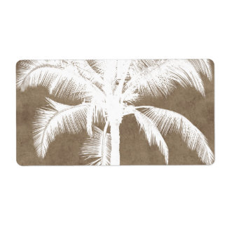 Retro Hawaiian Tropical Palm Tree Silhouette White Shipping Label