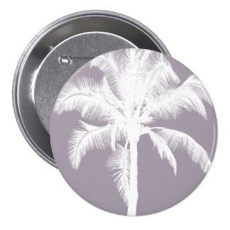 Retro Hawaiian Tropical Palm Tree Vintage Purple 3 Inch Round Button