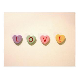 Retro Heart Candy Love Postcard