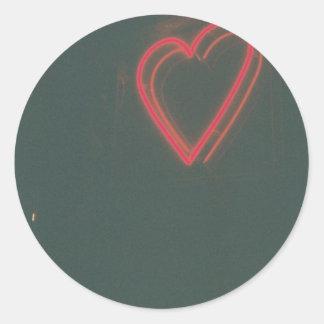 Retro Heart Classic Round Sticker