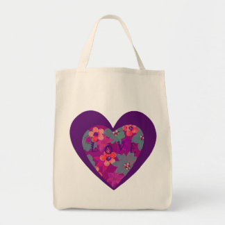 Retro heart flower grocery tote gets pretty tote bag