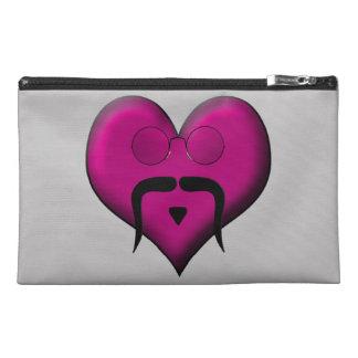 Retro Heart Mustache Travel Accessory Bags