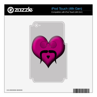 Retro Heart Mustache Decals For iPod Touch 4G