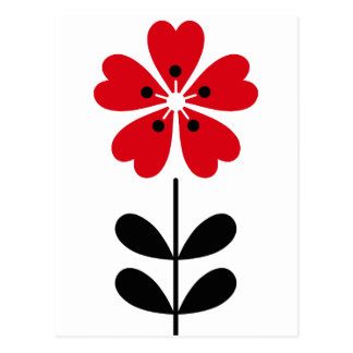 Retro Heart Shaped Flower in Red Postcard