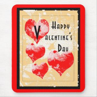 Retro Heart Valentine Mouse Pad