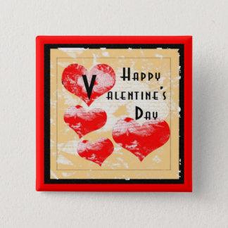 Retro Heart Valentine Pinback Button