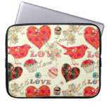 Retro Hearts Birds & Valentine's Day Elements Laptop Computer Sleeves