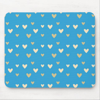 Retro hearts blue candy Fair Isle pattern Mouse Pad