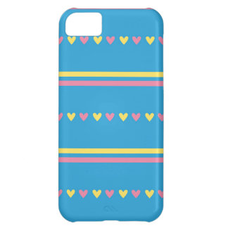 Retro hearts blue candy striped Fair Isle pattern iPhone 5C Cover
