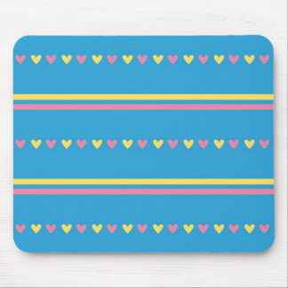 Retro hearts blue candy striped Fair Isle pattern Mouse Pad